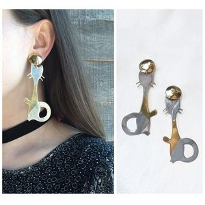 Vintage Cat Two-Tone Brass Earrings